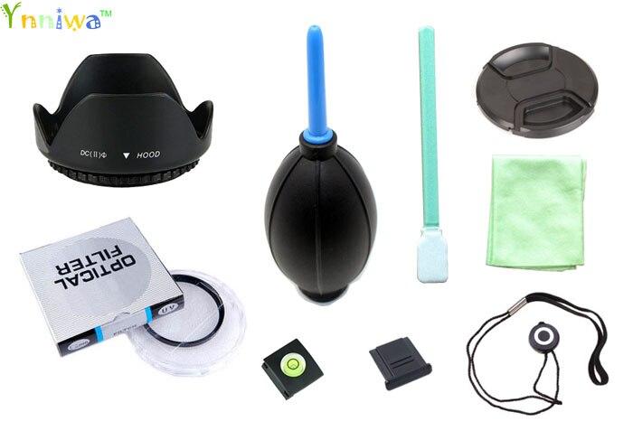 9 en 49 52 55 58 62 67 72 77mm lentille filtre UV + bouchon + lens cap ligne + lens hood + 2 hot shoe + tissu + CCD + Air Coup