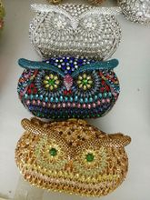 Frauen Diamant Kristall Box Kupplungen und Handtaschen für Party Hochzeit Prom Braut Luxus Kristall Kupplung Geldbörse Eulen