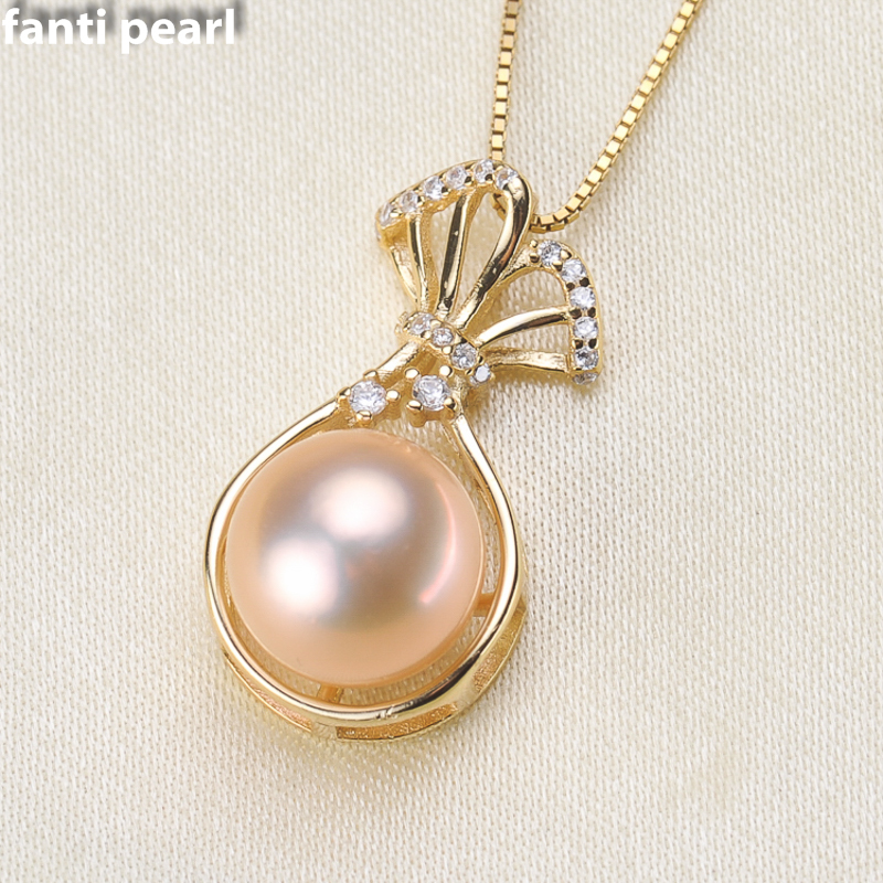 FANTI Real Natural freshwater pearl necklace with 925 sterling silver pendant necklace for women Natural pearl jewelry 8-10mm