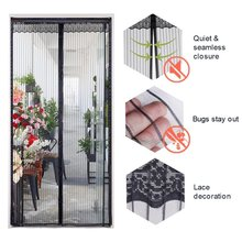 Summer Magnetic Mesh Net Curtains Anti Mosquito Fly Insect Bug Mesh Screen Door with Lace Automatically Shut Sealed for Kitchen odom hight quality summer anti mosquito mesh door magnetic mosquito net curtains tulle soft screen door magnetic stripe of gray