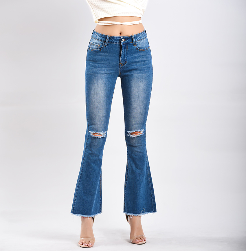 Women\`s dress of Europe and America 2018 new wide leg trousers jeans denim flared trousers women\`s worn-out edge trousers (1)