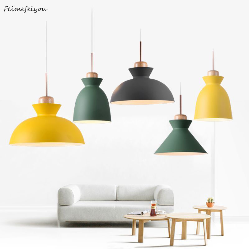 Nordic Simple Modern Bedroom Personality Bar Creative Wrought Iron Color Dining Restaurant Chandelier Solid Wood Lamp