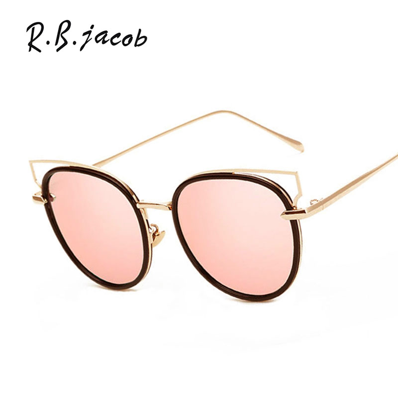 New Brand Designer Lady Female Sun glasses UV400 Pink Cateye Fashion Cat Eye Hollow out Mirror Sunglasses Women 2017