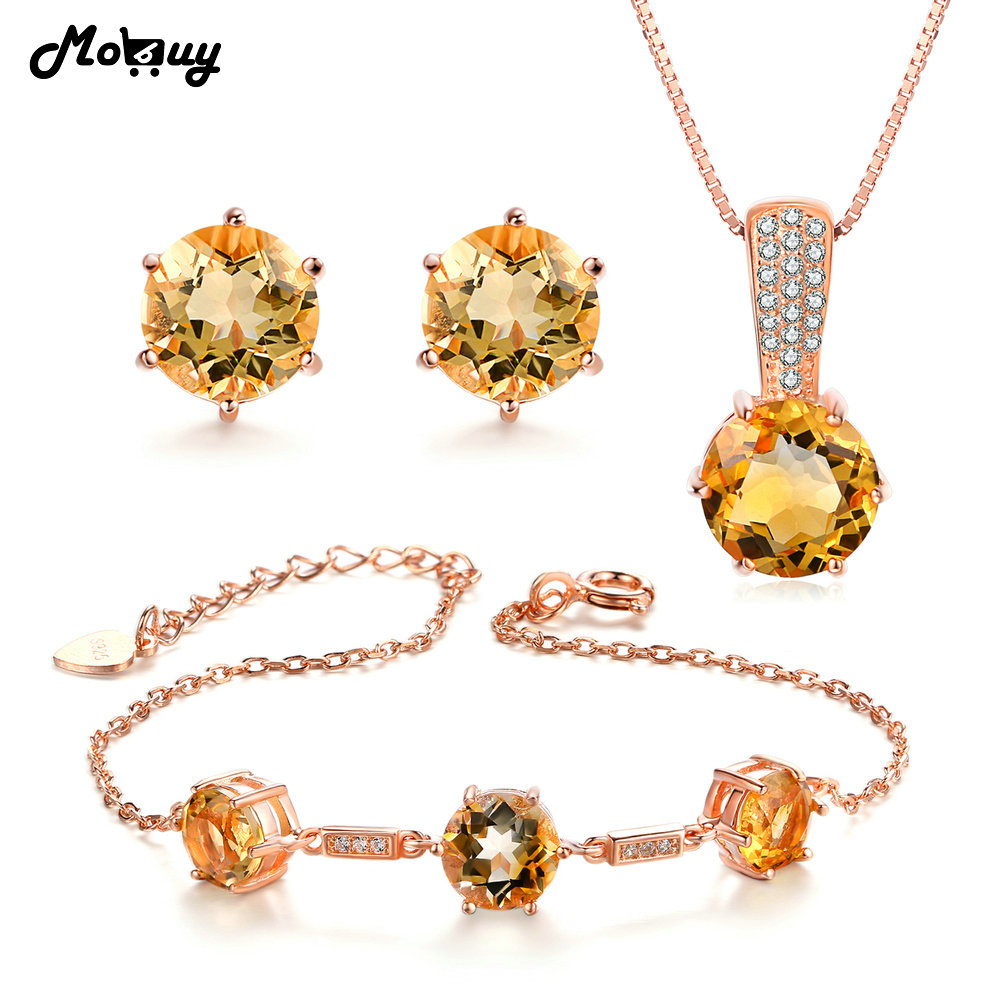 MoBuy Wedding Jewelry Set Natural Gemstone Yellow Citrine 100 925 Sterling Silver 3PCS Fine Jewelry For