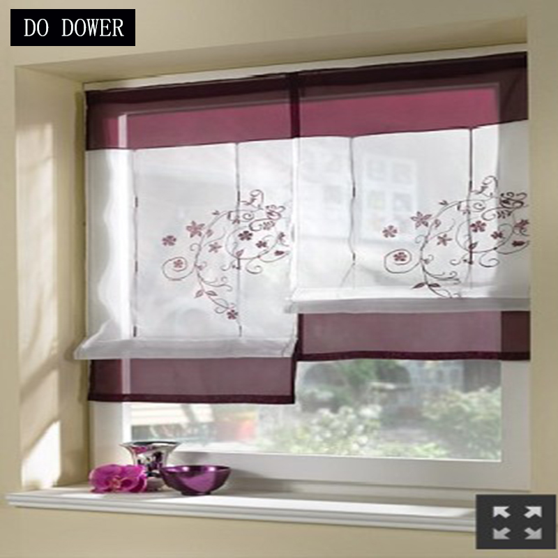 1PC 4 color 4 sizes Roman Short kitchens curtains Solid Curtains Embroidered Window Drapes for the living room Bedroom decor