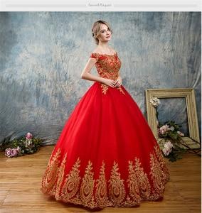 Image 4 - 8 שכבות שחור לבן כחול אדום רומנטי בציר זהב תחרת אפליקציות חתונת שמלות בתוספת גודל כלה שמלת סירת צוואר כבוי כתף