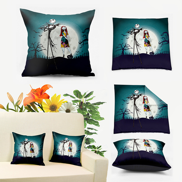 jack and sally merry christmas cushion covers pillow casenight before christmas throw pillow cover - Christmas Decorative Pillow Covers
