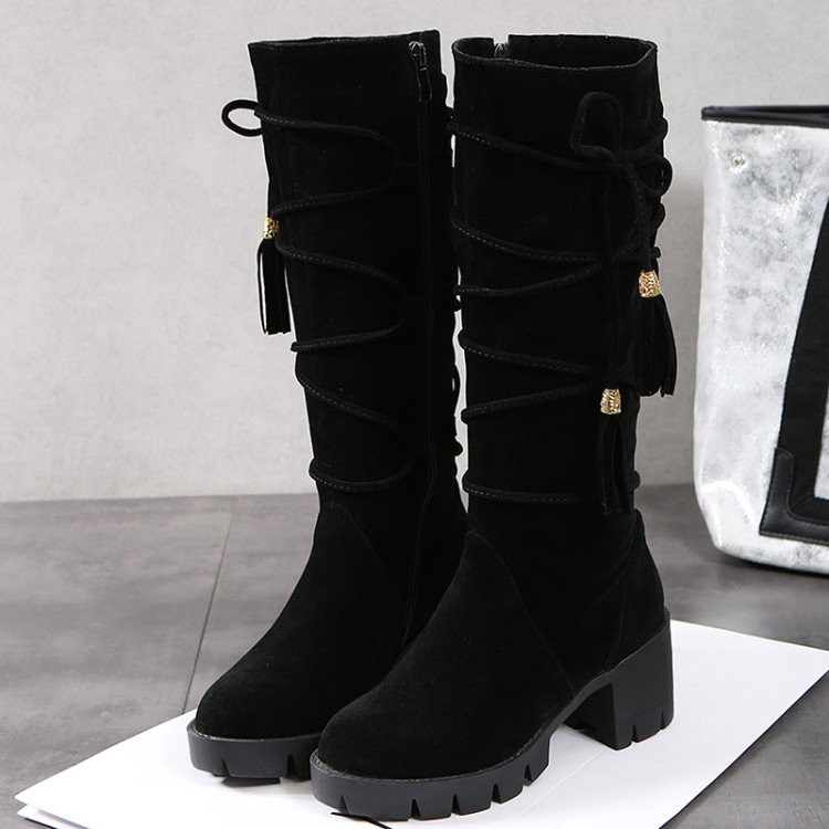 2017 Winter Boots Big Size 33-43 New Round Toe Boots For Women Heels Fashion Autumn Winter Shoes Casual Snow boots 999-3 doratasia big size 34 43 women half knee high boots vintage flat heels warm winter fur shoes round toe platform snow boots