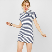 DERUILADY Summer Women Dress Stand Fashion Striped Party Dress Short Sleeve Straight Plus Size Casual Dresses