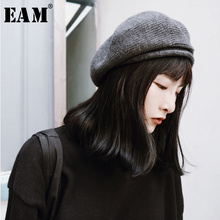 [EAM] 2021 New Spring Summer Solid Color Round Dome Temperament Thick Warm Knitting Hat Women Fashion Tide All-match OA713