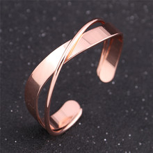 Fashion Rose Gold & Silver Color Cuff Bangle Bracelet For Woman Girl Gift 2017 New Punk Design Open Copper Bangle Jewelry