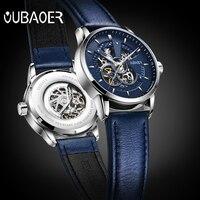 OUBAOER Mens Watches 2017 Brand Luxury Steampunk Automatic Skeleton Mechanical Waterproof Leather Watch Male Clock Reloj