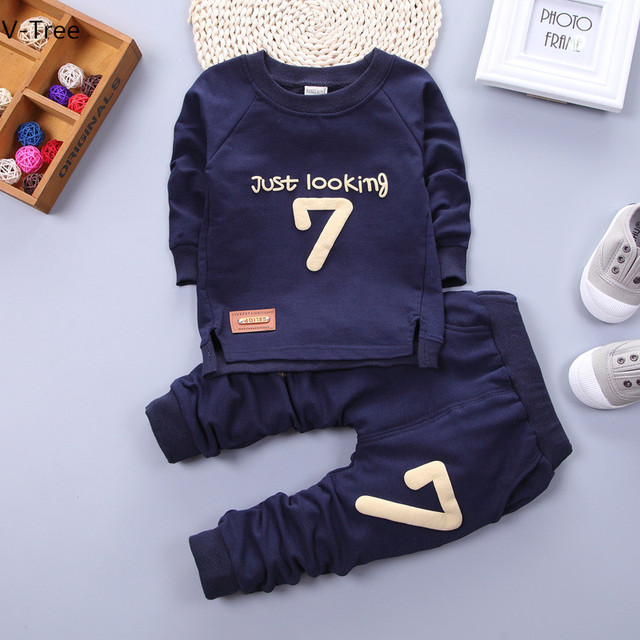 Fall Winter Baby Boy & Girl Sweatshirt Sets ChildrenTwo-piece 2pcs Sports Suit Hoodie+Pant Infant Kids Cotton Soft Print Clothes