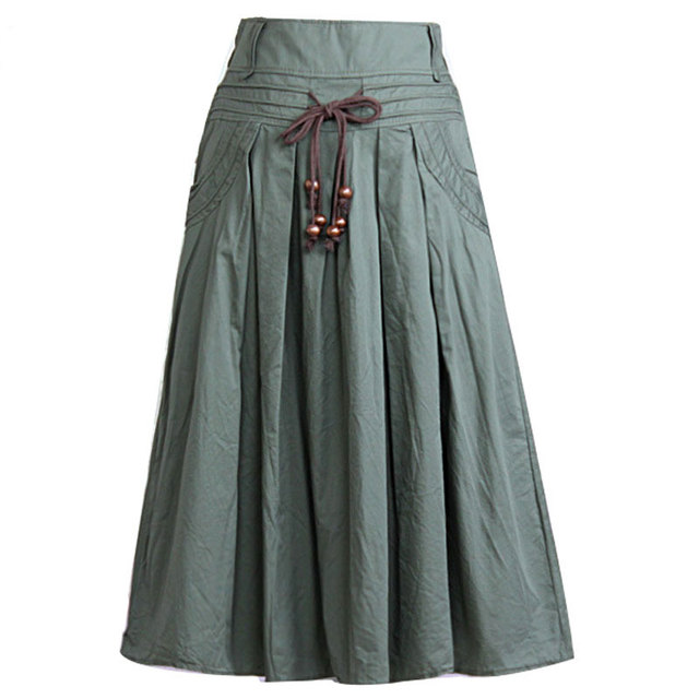 Las mujeres falda larga de 2015 Del Otoño Del Verano saia longa Sólido de Lino falda Maxi Faldas de Las Mujeres Grandes Bolsillos de Cintura Alta Plisada Ocasional faldas