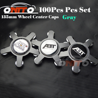 Wholesale 100pcs 135MM 5claw black /gray base wheel center Cover for Car Logo Badge Emblem Car Auto wheel hub caps