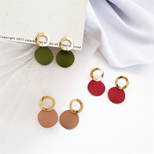 Tide beautiful goddess of geometric shape metal earrings Korea contracted wear Delicate wholesale jewelry