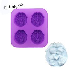 FILBAKE New soap mold four-hole bell angel food grade silicone made diy handmade cake decorating tools