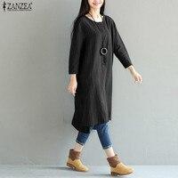 2017 ZANZEA Women Vintage Striped Dress Long Sleeve Asymmetric Loose Cotton Linen Mid Calf Dresses Vestidos