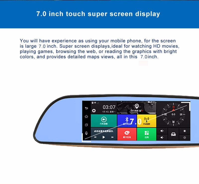 Free 32GB card+3G Car DVR+Android 5.0 Bluetooth GPS WIFI Dual lens rearview mirror camera+FHD1080P camara automovil Phisung H2 7