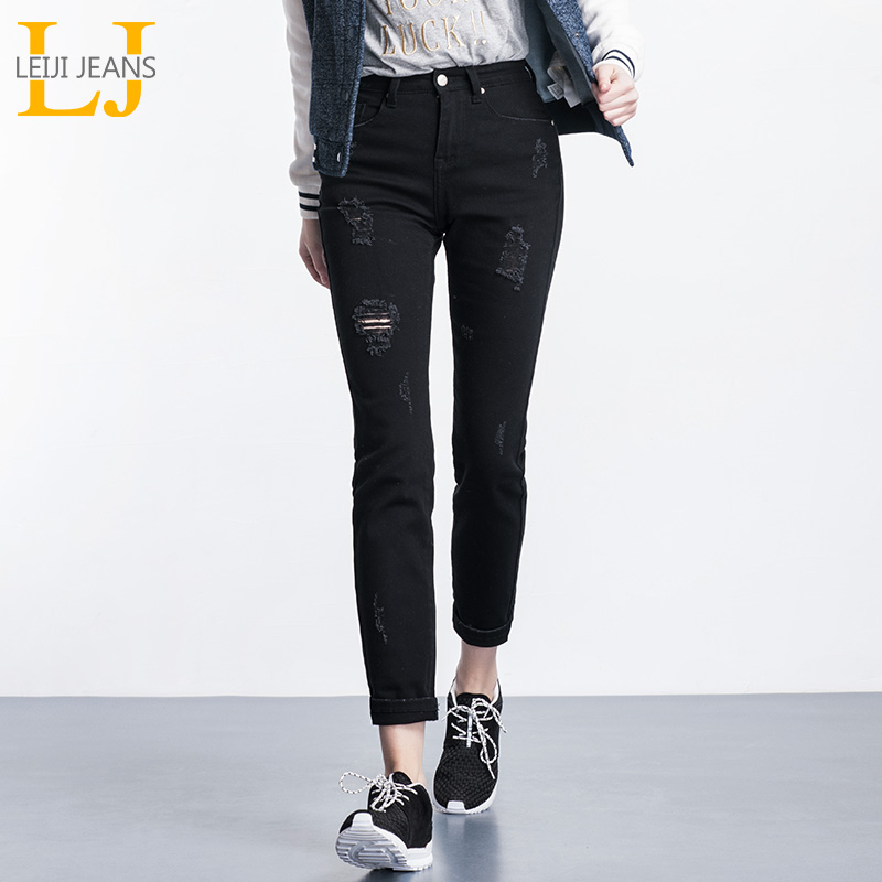 Autumn Fashion Ripped Hole Jeans 40-120KG Available Plus Size Women Mid Waist Elastic Black Full Length Straight Jeans Female cotton blend denim jeans casual elastic waist plus size straight pants for women spring autumn new fashion full length jln0616