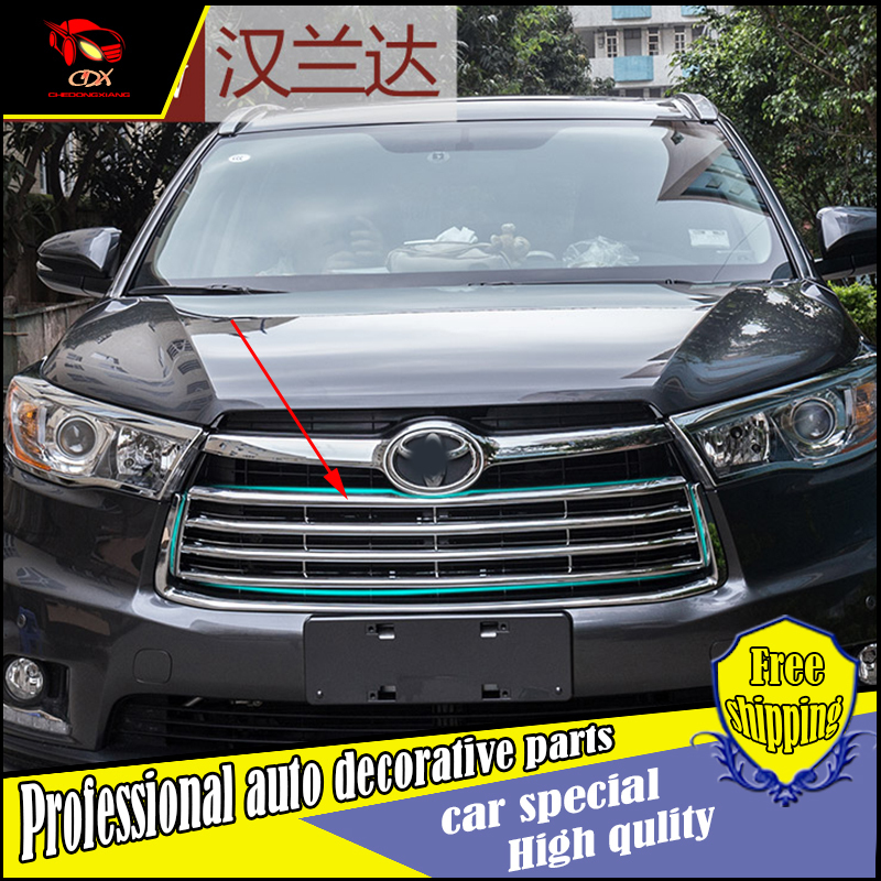 Car-styling For Toyota Highlander 2015 2016 ABS Chrome Car Front Gille Trim covers Auto Grille Decoration Cover Trims 2pcs abs b pillar car interior air vent outlet cover trim frame decoration for discovery sport 2015 2016 car styling car covers