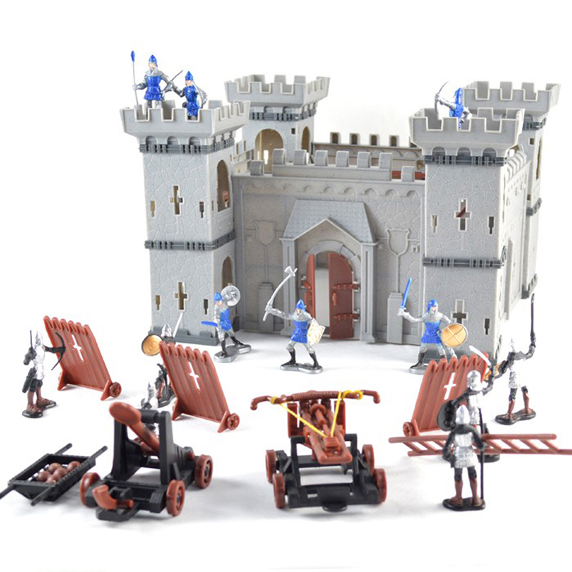 Assembled Building Block Mediaeval Castle Soldiers Model War Military Knights Plastics Figures Toy DIY Toy For Boys ancient knight 28pcs set soldiers and horses medieval model toy soldiers figures