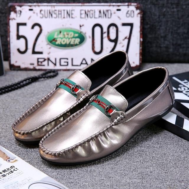 745d4c05c6d87b Split Leather Men Flat Shoes Brand Moccasins Golden Men Loafers Driving  Shoes Fashion Casual Soft Shoe Hot Sell 2018 Autumn New