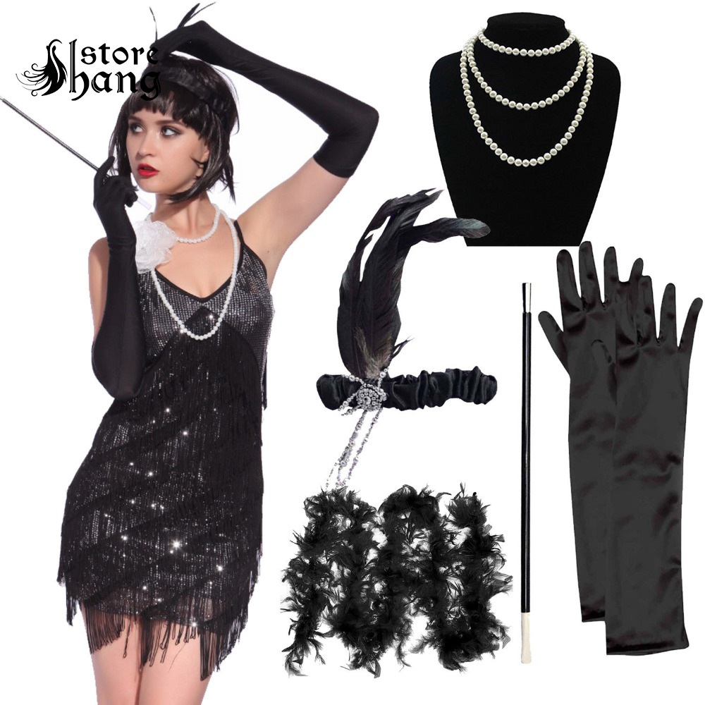 1920s Flapper Girl Costume Outfit Charleston Gangster Gatsby Roaring 20s Fancy Dress with 5pcs Accessories Set