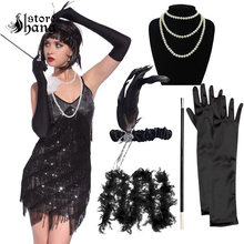 1920s Flapper Girl Costume Outfit Charleston Gangster Gatsby Roaring 20s Fancy Dress with 5pcs Accessories Set Hen Party