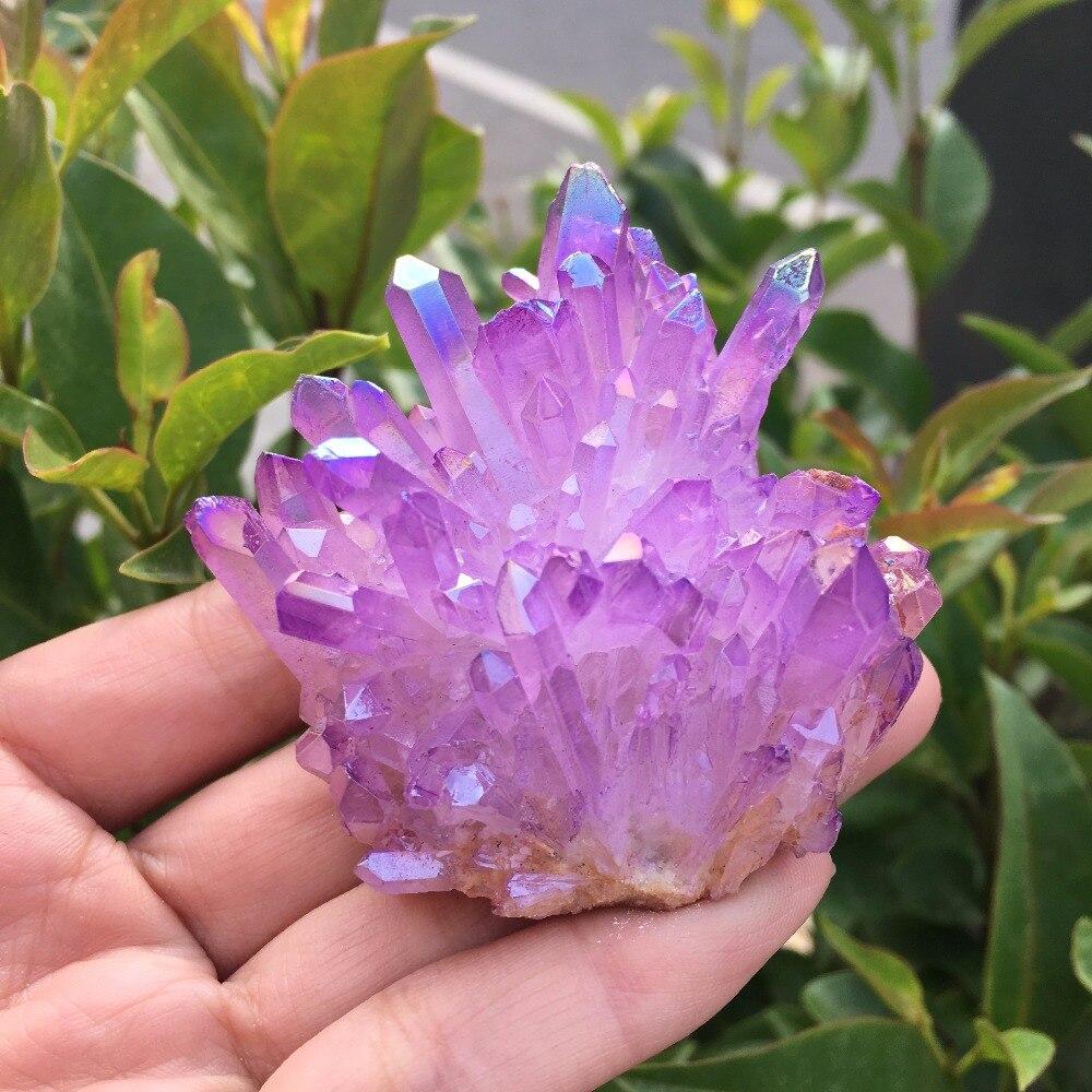 85g Rare beautiful purple flame aura quartz crystal cluster specimen