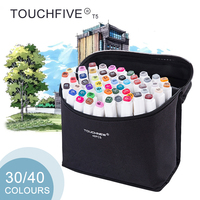 TOUCHFIVE T5S 30 40 Colors Dual Tip White Barrel Sketch Markers Black Bag For Drawing Painting