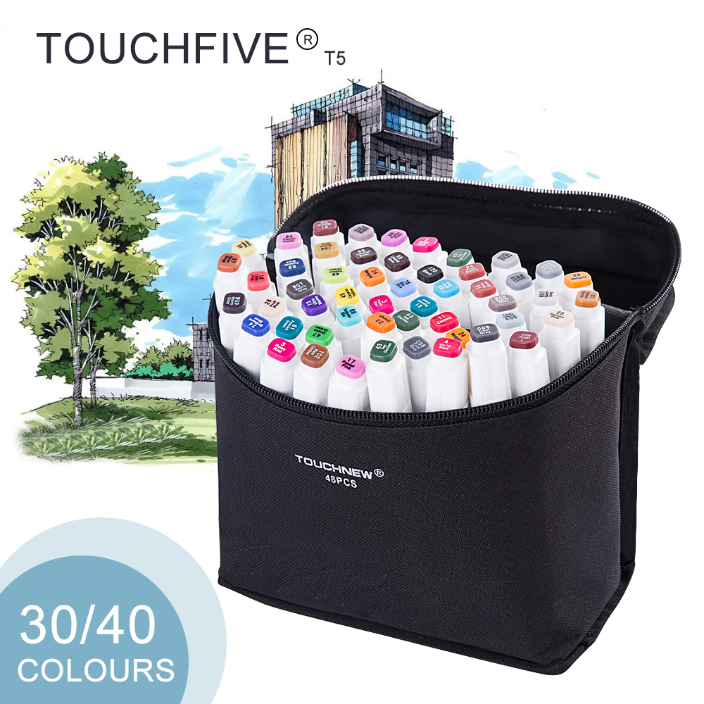 TOUCHFIVE T5S 30/40 colors dual-tip white barrel sketch markers black bag for drawing painting design manga art supplies promotion touchfive 80 color art marker set fatty alcoholic dual headed artist sketch markers pen student standard