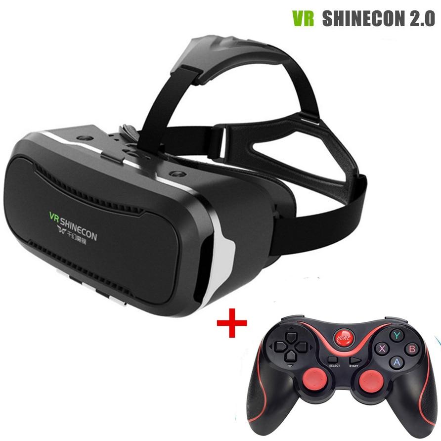 ФОТО VR BOX 3.0 vr glasses VR Shinecon 2.0 Virtual Reality Glasses Google Cardboard 2.0 For 4.7-6.0 inch Smartphone + Remoter gamepad
