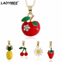 LADYMEE Pendant Necklace New Design Cute Girl Fruit Necklaces Pineapple Apple Strawberry Cherry Flower Enamel Necklaces