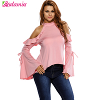 Summer Women Tops Sexy Off Shoulder Ruffle Top 2017 Casual Flare Sleeve Tee Shirt Femme Back Open Slim Tunic Tops For Women