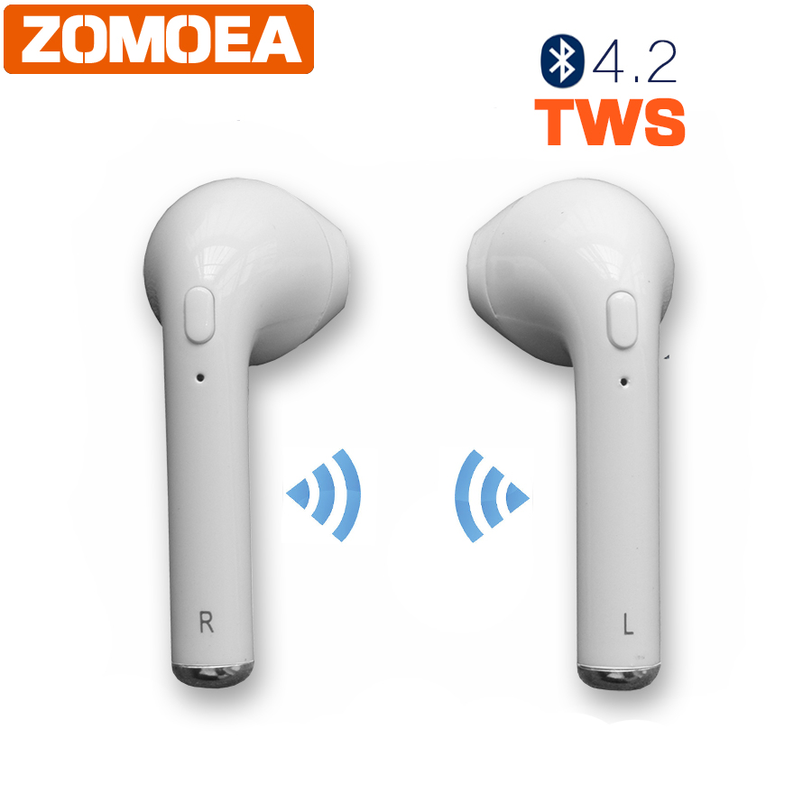 ZOMOEA Wireless Bluetooth 4.2 TWS Earphone Stereo Headset With Microphone Fone De Ouvido Universal Handsfree For iPhone android new dacom carkit mini bluetooth headset wireless earphone mic with usb car charger for iphone airpods android huawei smartphone