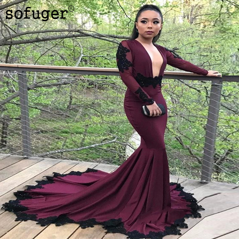 Burgundy Satin Mermaid V Neck   Evening     Dress   Prom Appliques   Dresses   Sexy Backless Party   Dress   Vestidos De Festa