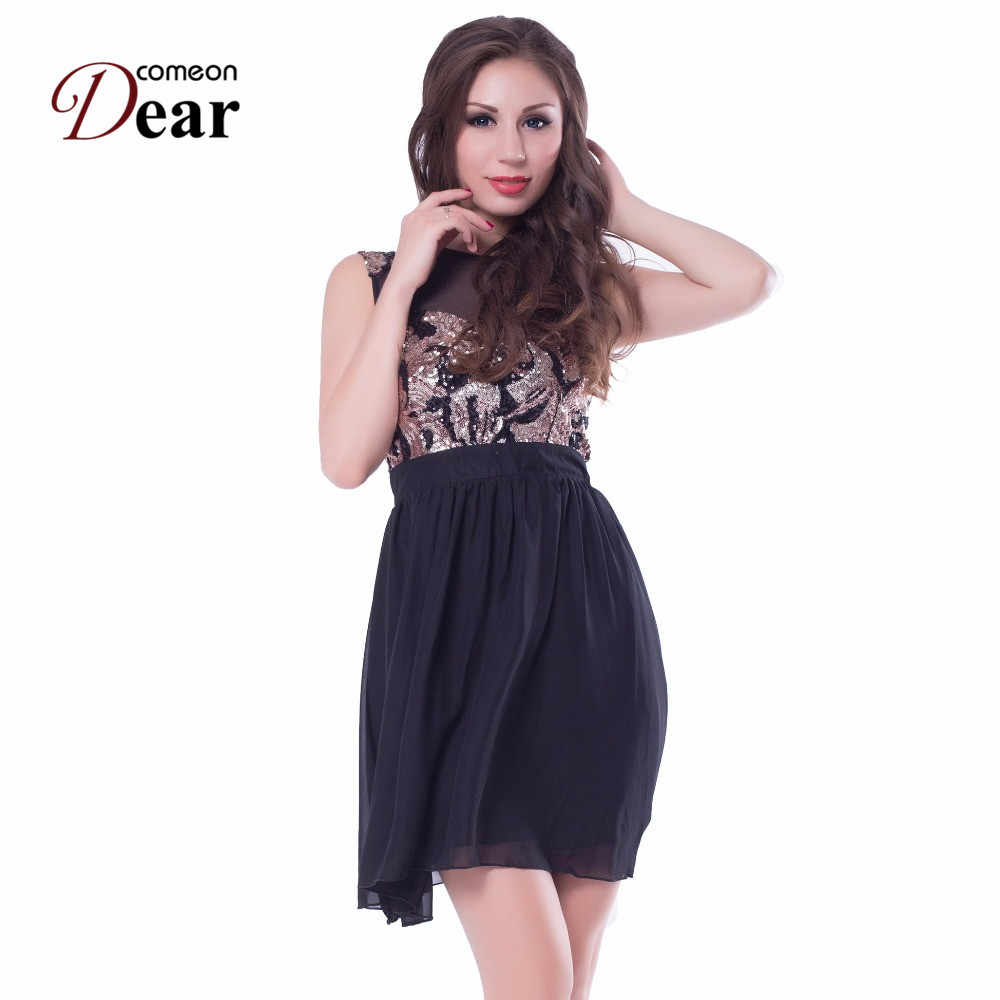 42f221dfdc Comeondear Fit And flare Skater Dress Round Neck Sleeveless Lace Insert  Cute Short Dress RJ80049 Zip Plus Size Sweet Black Dress