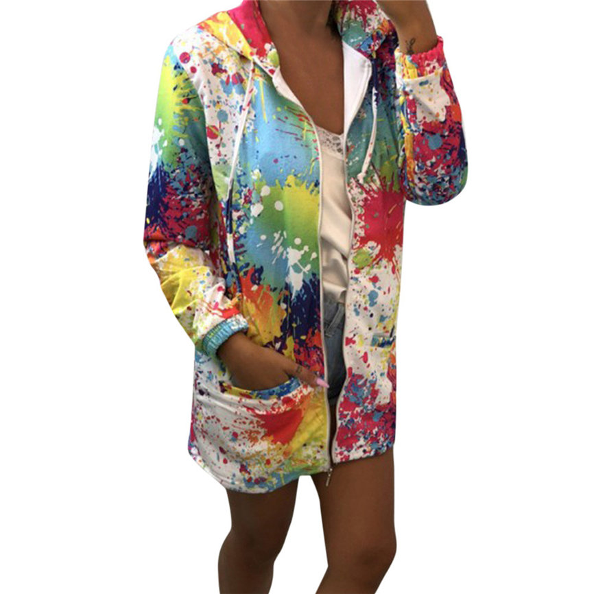 Fashion Womens dyeing Print Coat Outwear Sweatshirt Hooded Jacket Overcoat Tops