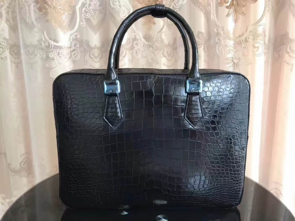 Fashion Men's Genuine/Real crocodile belly skin men business briefcase bag with cow leather strap official bag men bag free ship cestbeau no splicing real crocodile belly man bag men handbag briefcase 2018 new business men bag with computer layer