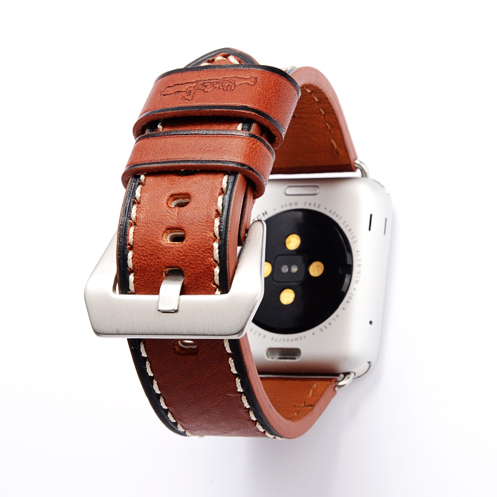 Italy Genuine Calf Crazy Horse Leather Watchband for 38mm 42mm iWatch Apple Watch Series 1 2 3 Vintage Strap Wrist Band Brown italian genuine calf leather watchband for iwatch apple watch 38mm 42mm series 1 2 3 band alligator grain strap wrist bracelet