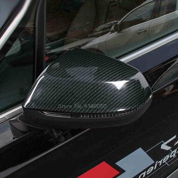 Audi q7 2016 2017 2018 abs 크롬 및 탄소 섬유 사이드 도어 백미러 장식 커버 트림 (터닝 라이트 포함)