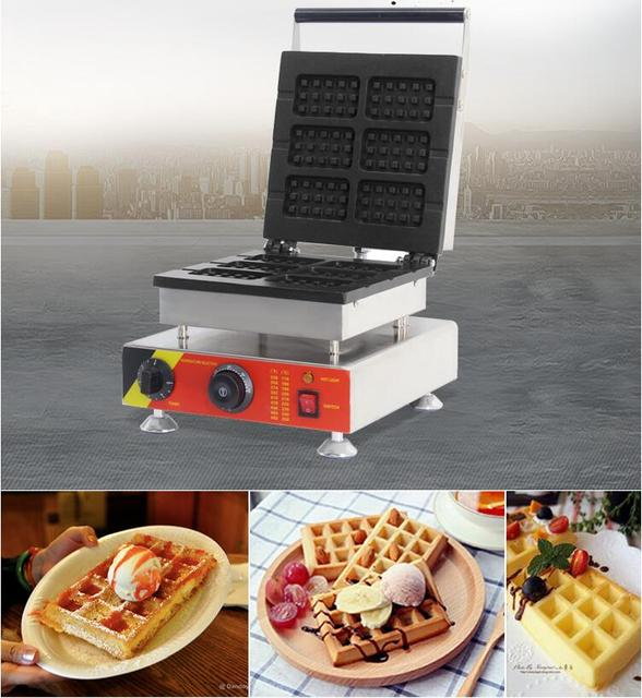 110V 220V Electric Waffle Maker Machine 6pcs Commercial Non-stick Chocolate Waffle Stick Baking Machine EU/AU/UK/US Plug