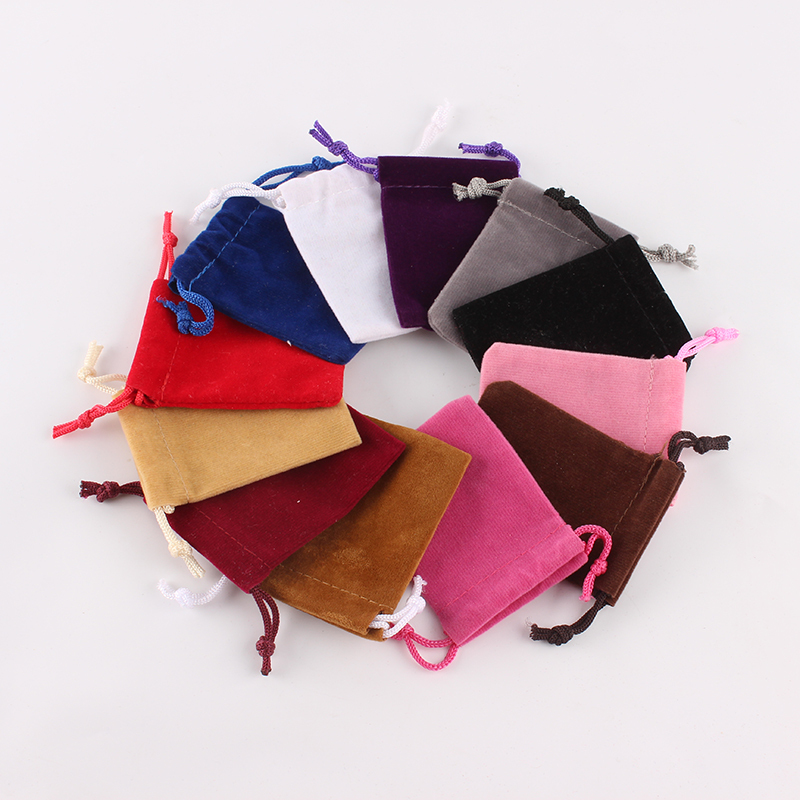 20Pcs/lot 5*7cm High Quality Custom Logo Printed Drawstring Bag Velvet Jewelry Pouch Christmas Gift Bag