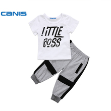 CANIS 2017 Kids child boy garments Short Sleeve T-shirt+Pants Clothes Outfit Set 1-6Years