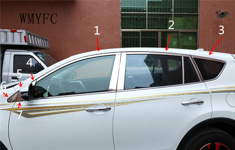 Stainless Steel Window Trim sticker Fit For TOYOTA RAV4 2016 2017 2018 Car Window frame Trim Sequin car Accessories 24pcs car accessories chromium parts 2017 16 modified stainless steel window trim bright decorative windows for buick encore page 8