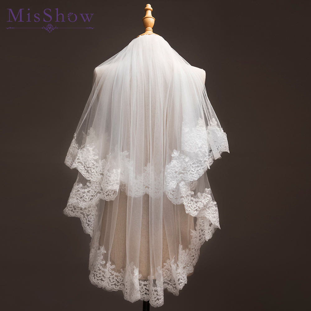 In stock! 1.2 M Two Layer Tulle <font><b>Short</b></font> wedding veil bridal veils with comb Applique Edge <font><b>velos</b></font> de novia 2019 wedding accessories image
