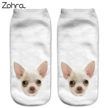 Zohra Fashion Funny Dogs 3D Printing Sock Women Low Cut Ankle Socks Calcetines Hosiery Animal Shapes