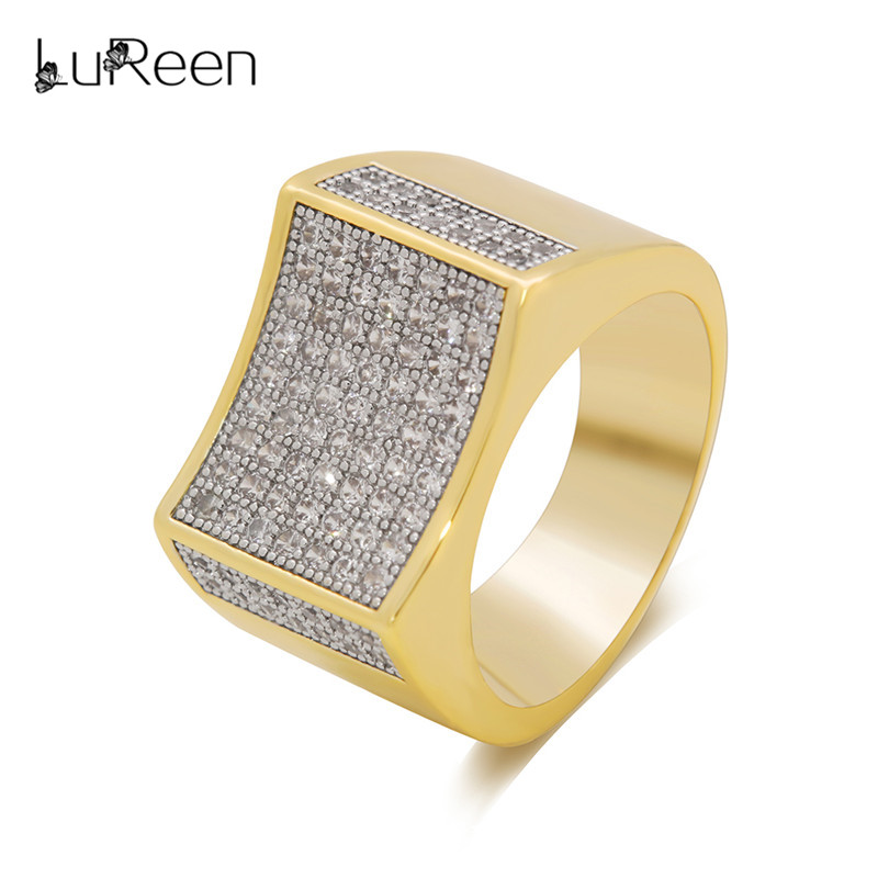 LuReen Bling Micro Pave CZ Stones Ring Men Punk Iced Out Gold Silver Finger Rings Anel Fashion Jewelry Party Gift LR06026