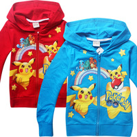 2018 Spring Summer Kids New Cartoon Pokemon Go Hoodie Pikachu Children Long Sleeved Cotton Sport Sweater